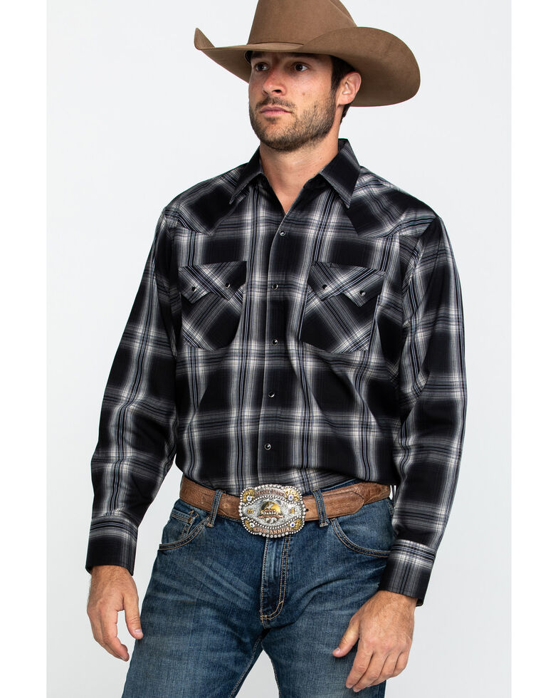 Ely Cattleman Men's Assorted Multi Large Plaid Long Sleeve Western Shirt - Tall , Multi, hi-res