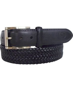 John Deere Braided Black Leather Belt, Black, hi-res