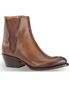 Lucchese Women's Handmade Tan Gia Chelsea Booties - Pointed Toe , Tan, hi-res