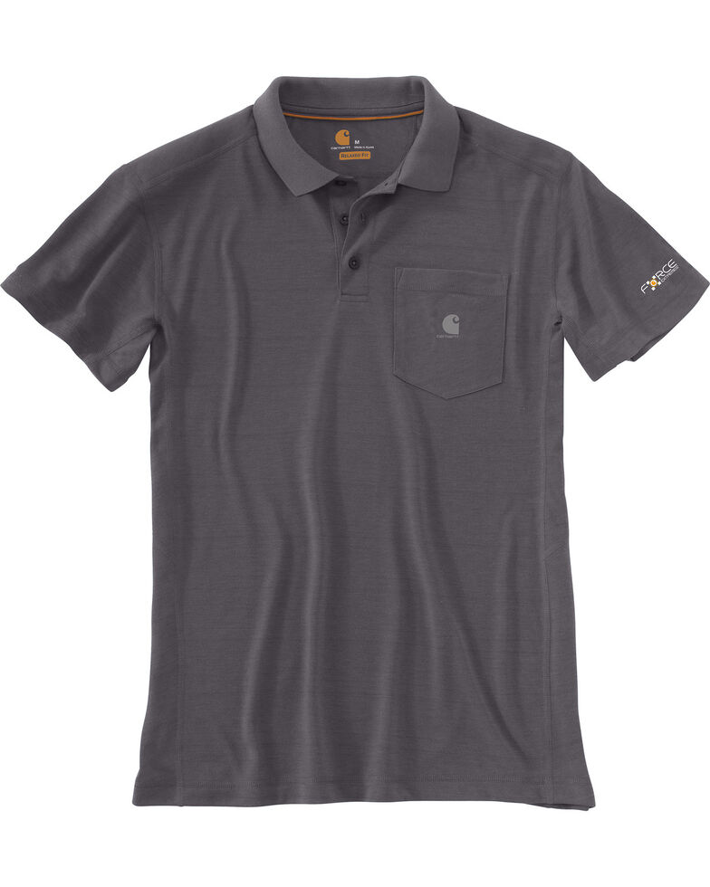 Carhartt Men's Force Extremes™ Polo Work Shirt, Charcoal, hi-res