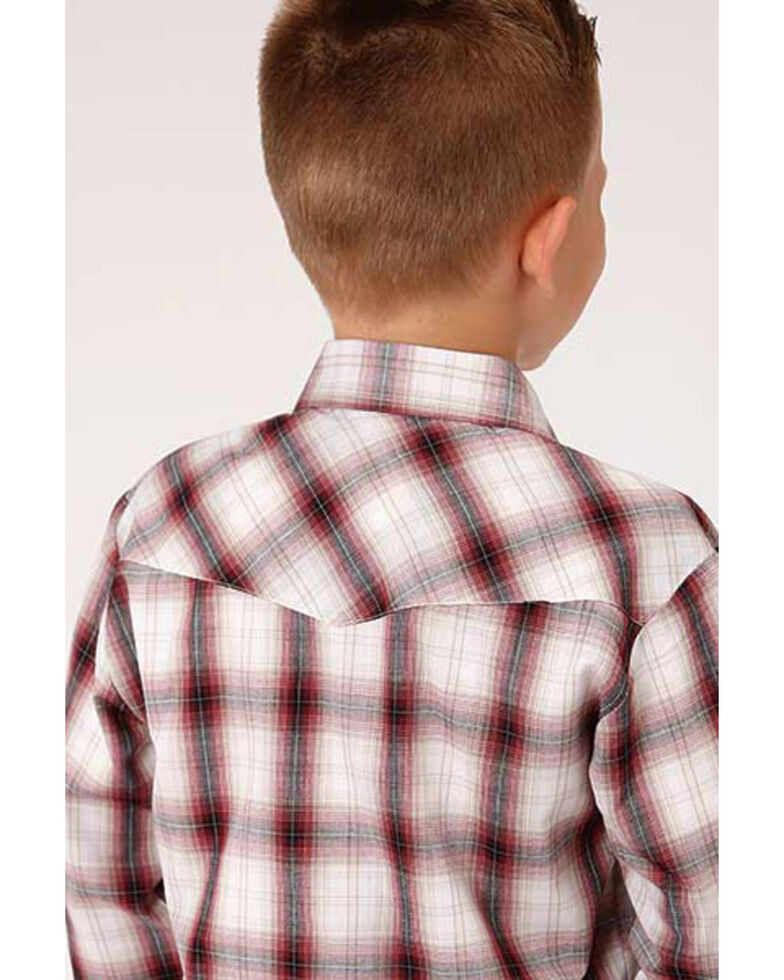 Roper Boys' Classic Burgundy Plaid Long Sleeve Western Shirt , Burgundy, hi-res