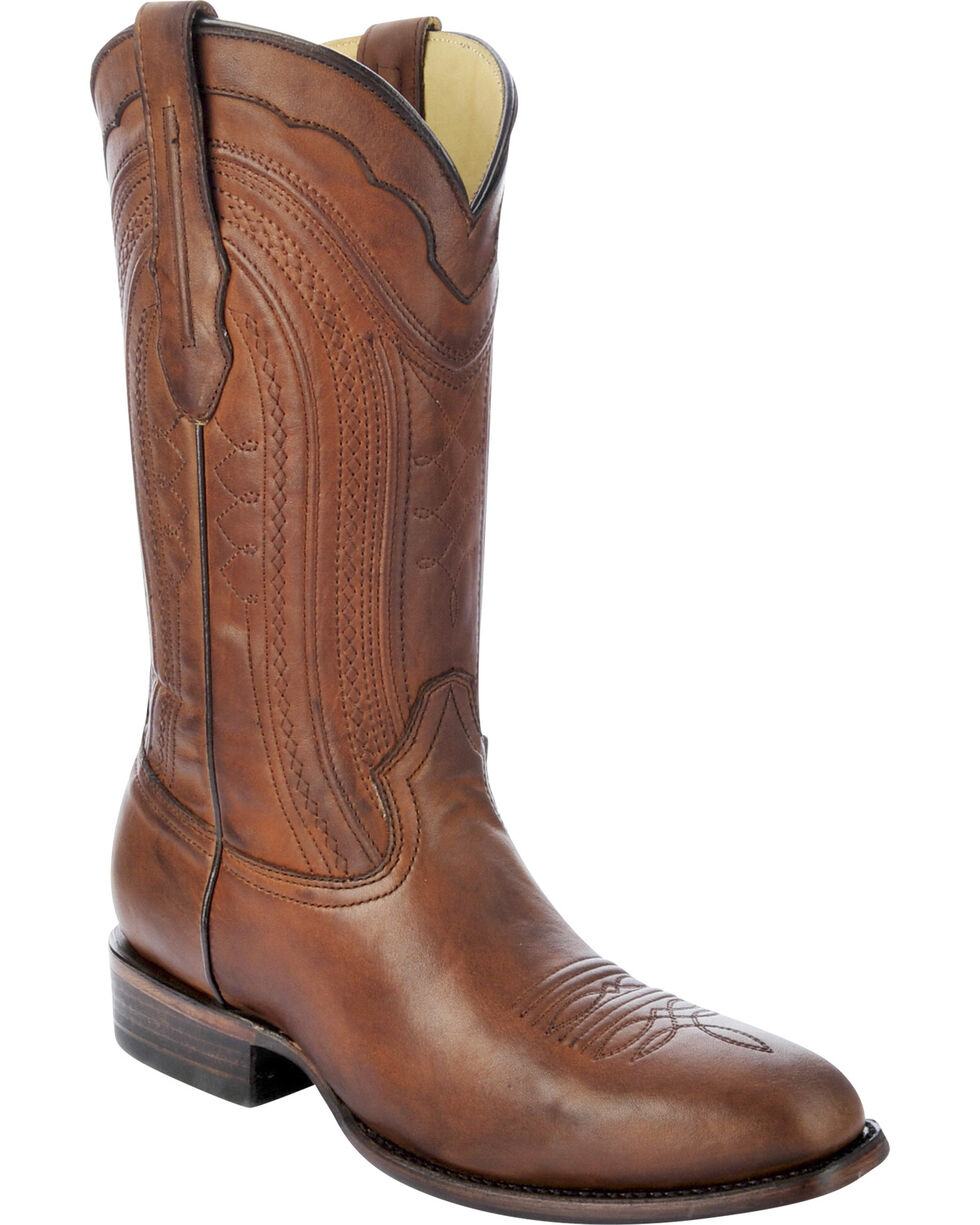 Corral Men's Burnished Leather Square Toe Western Boots, Cognac, hi-res