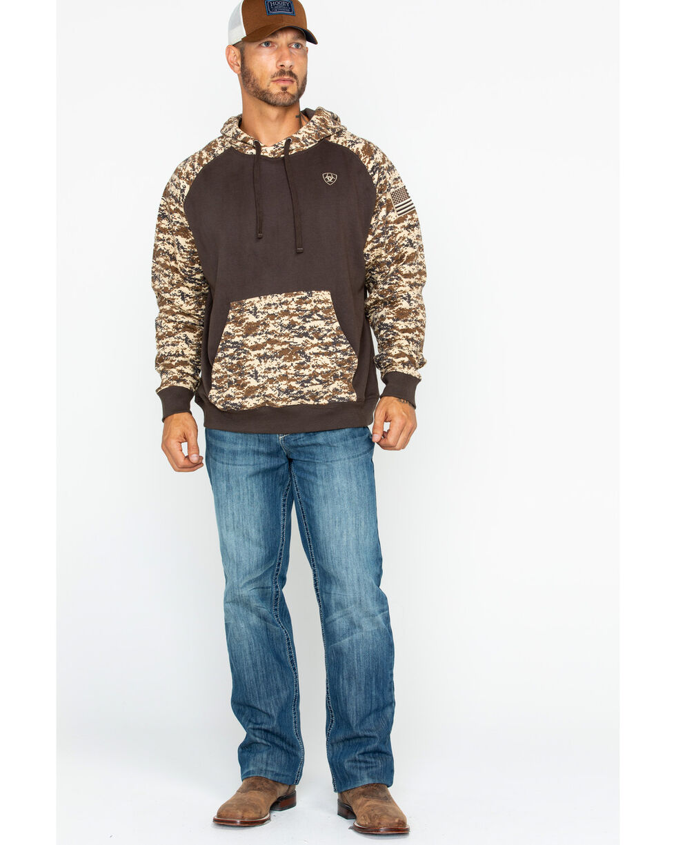 Ariat Men's Brown Patriot Desert Camo Hoodie , Brown, hi-res