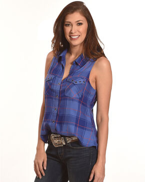 Shyanne Women's Plaid Sleeveless Shirt, Blue, hi-res