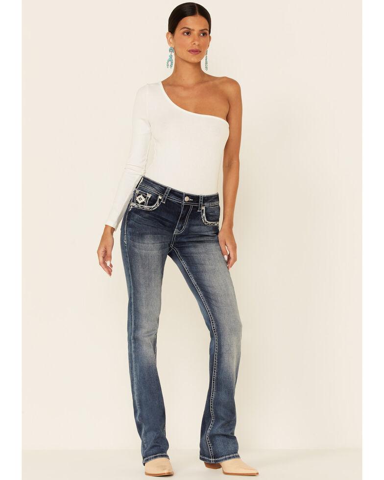 Grace in LA Women's Aztec Dream Catcher Easy Bootcut Jeans, Blue, hi-res