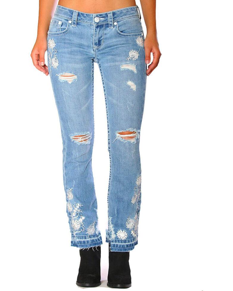 Grace in LA Women's Blue Floral Cropped Bootcut Jeans, Blue, hi-res