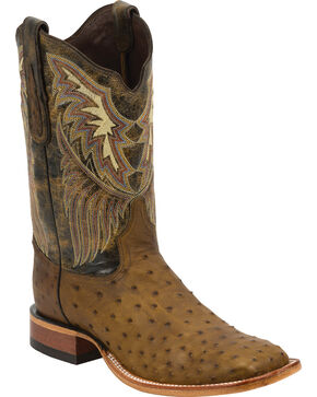 Tony Lama Men's Full Quill Ostrich Exotic Boots, Oak, hi-res