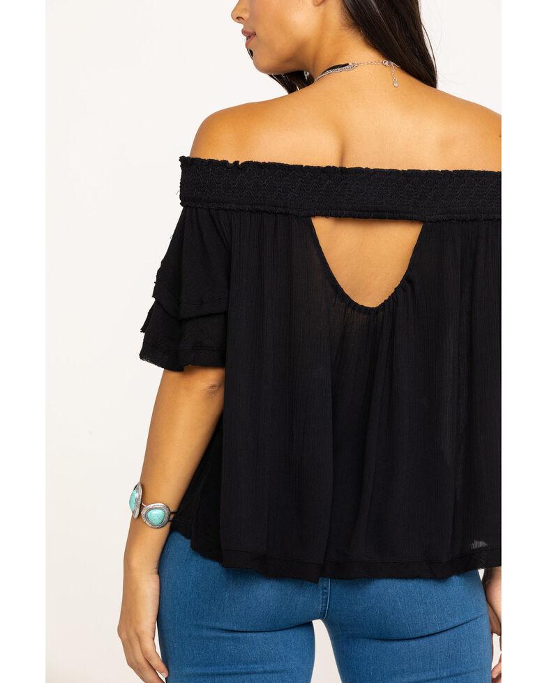 HYFVE Women's Black Off The Shoulder Top , Black, hi-res