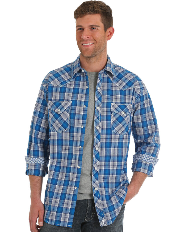 Wrangler 20X Men's Blue Plaid Advanced Comfort Long Sleeve Western Shirt , Blue, hi-res