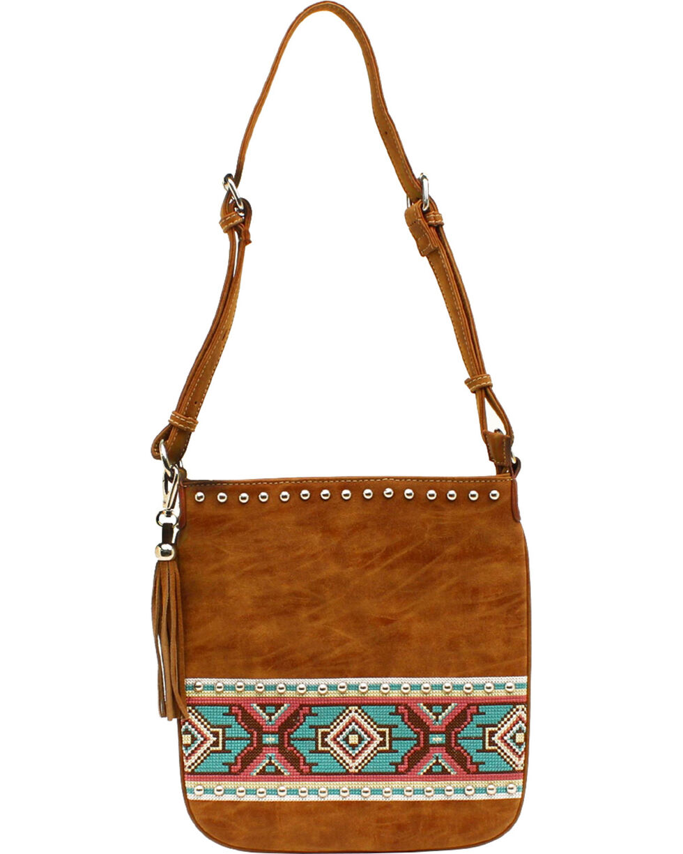 Blazin Roxx Shania Collection Aztec Ribbon Messenger Bag, Tan, hi-res