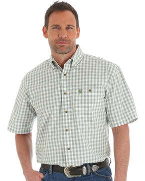 George Strait by Wrangler Men's Green Short Sleeve Plaid Shirt , Olive, hi-res