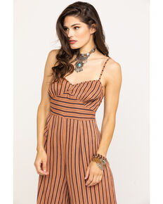 Angie Women's Rust Stripe Wide Leg Jumpsuit, Rust Copper, hi-res