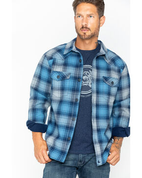 Cody James Men's Viking Plaid Flannel Jacket, Blue, hi-res