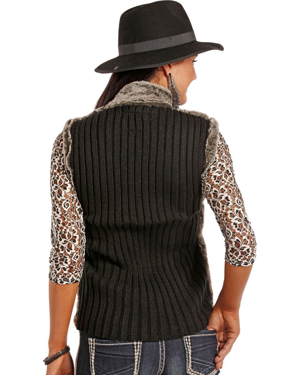 Powder River Outfitters Women's Charcoal Faux Fur Vest , Charcoal, hi-res