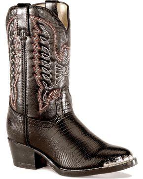 Durango Kid's Lizard Print Western Boots, Black, hi-res