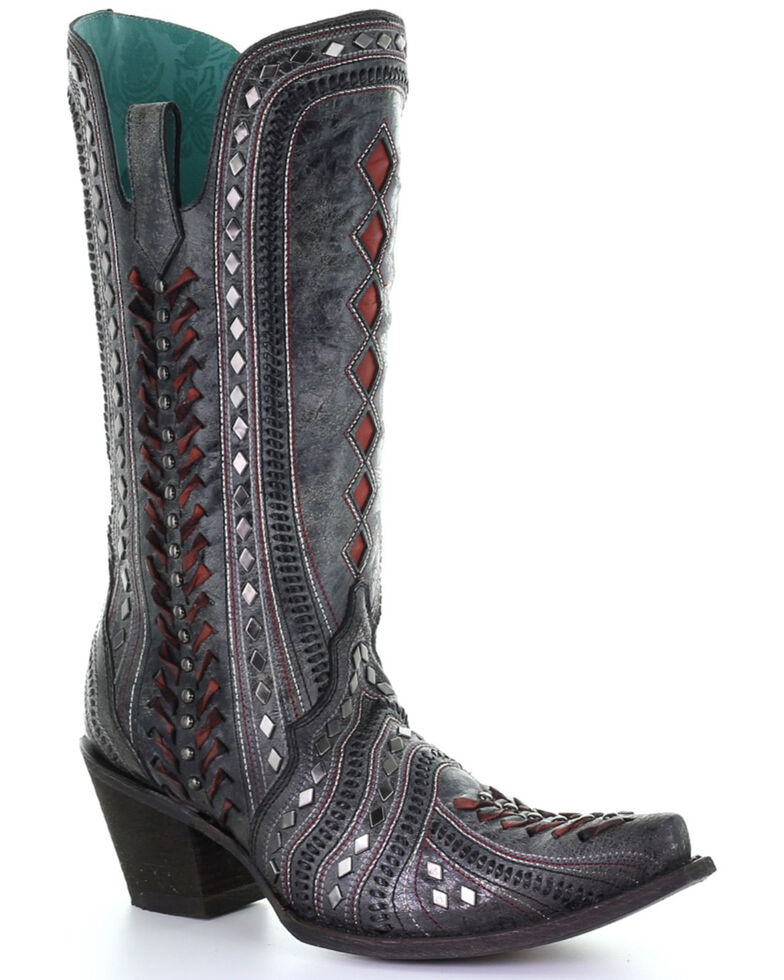 Corral Women's Black Inlay & Embroidery Western Boots - Snip Toe, Black, hi-res