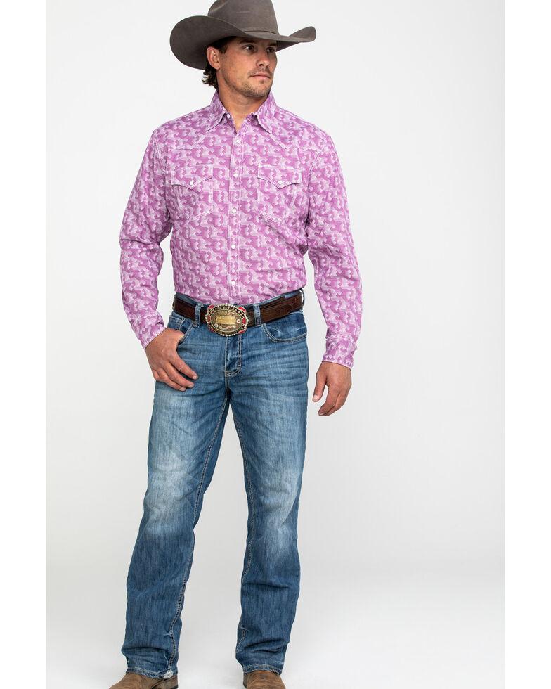 Wrangler 20X Men's Advanced Comfort Geo Print Long Sleeve Western Shirt , Purple, hi-res