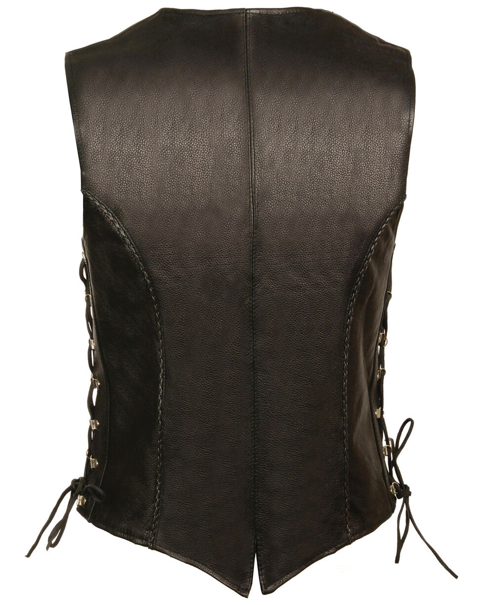 Milwaukee Leather Women's Snap Front Vest With Thin Braid - 4X, Black, hi-res