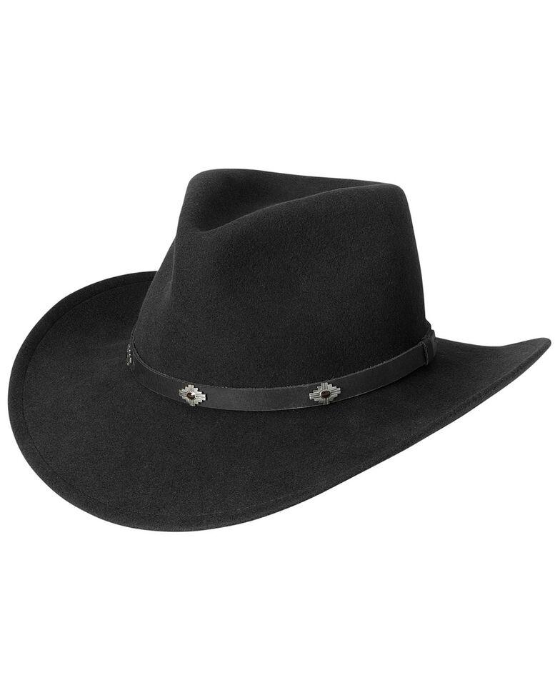Black Creek Men's Black Crushable Wool Hat , Black, hi-res
