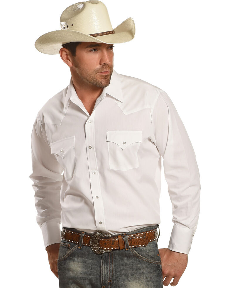 Ely Cattleman Men's Solid White Long Sleeve Western Shirt - Big & Tall , White, hi-res