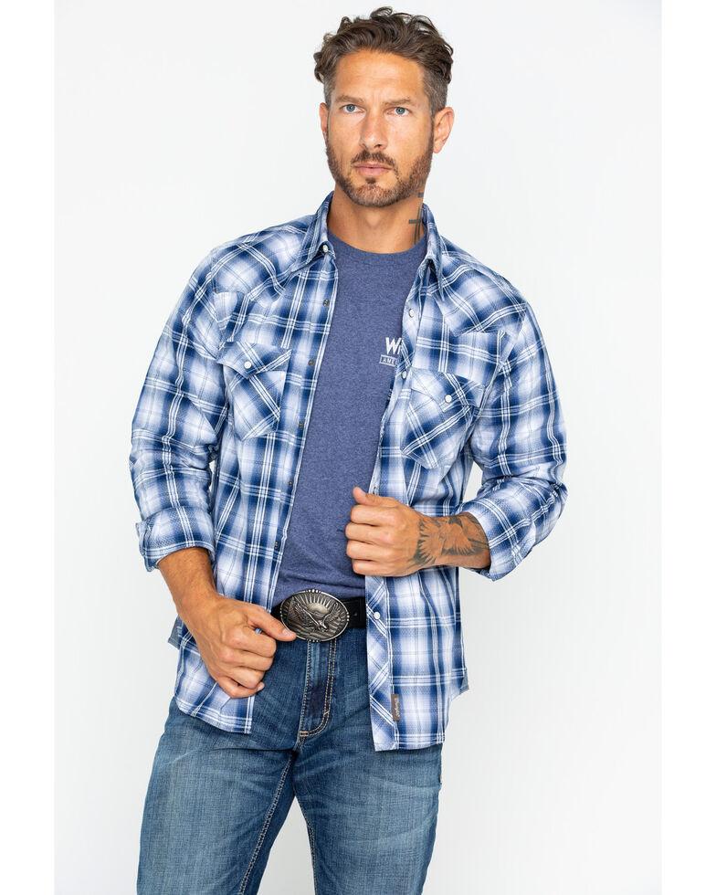 Wrangler Retro Men's Blue Plaid Long Sleeve Shirt, Blue/white, hi-res