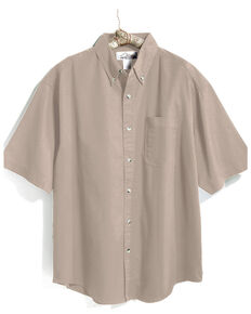 Tri-Mountain Men's Khaki 4X Solid Recruit Short Sleeve Work Shirt - Big , Beige/khaki, hi-res