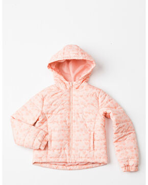 Shyanne Girls' Heart Puffer Zip-Up Hooded Jacket , Pink, hi-res