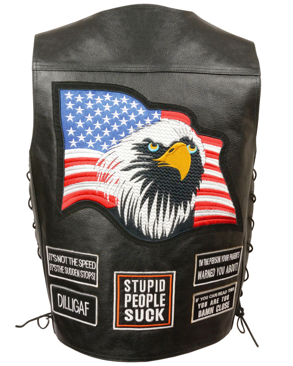 Milwaukee Leather Men's Side Lace Eagle & Flag Patch Vest - 3X, Black, hi-res