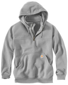Carhartt Men's Rain Defender Paxton Hooded Zip Mock Work Sweatshirt, Hthr Grey, hi-res