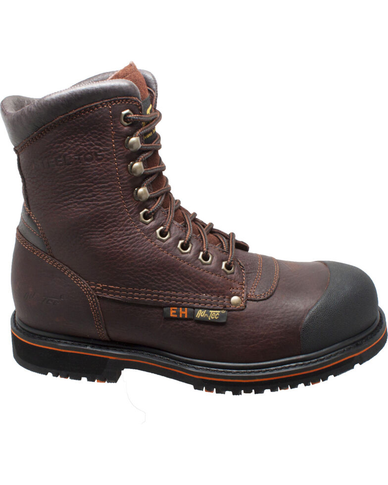 "AdTec Men's Brown 8"" Tumbled Leather Work Boots - Steel Toe , Brown, hi-res"