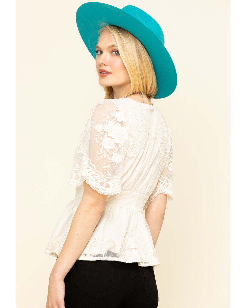 Flying Tomato Women's Cream Lace Flutter Short Sleeve Top , Off White, hi-res