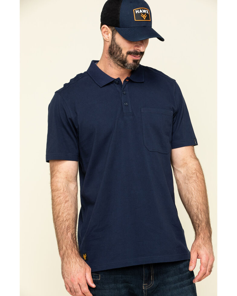 Hawx Men's Navy Miller Pique Short Sleeve Work Polo Shirt - Tall , Navy, hi-res