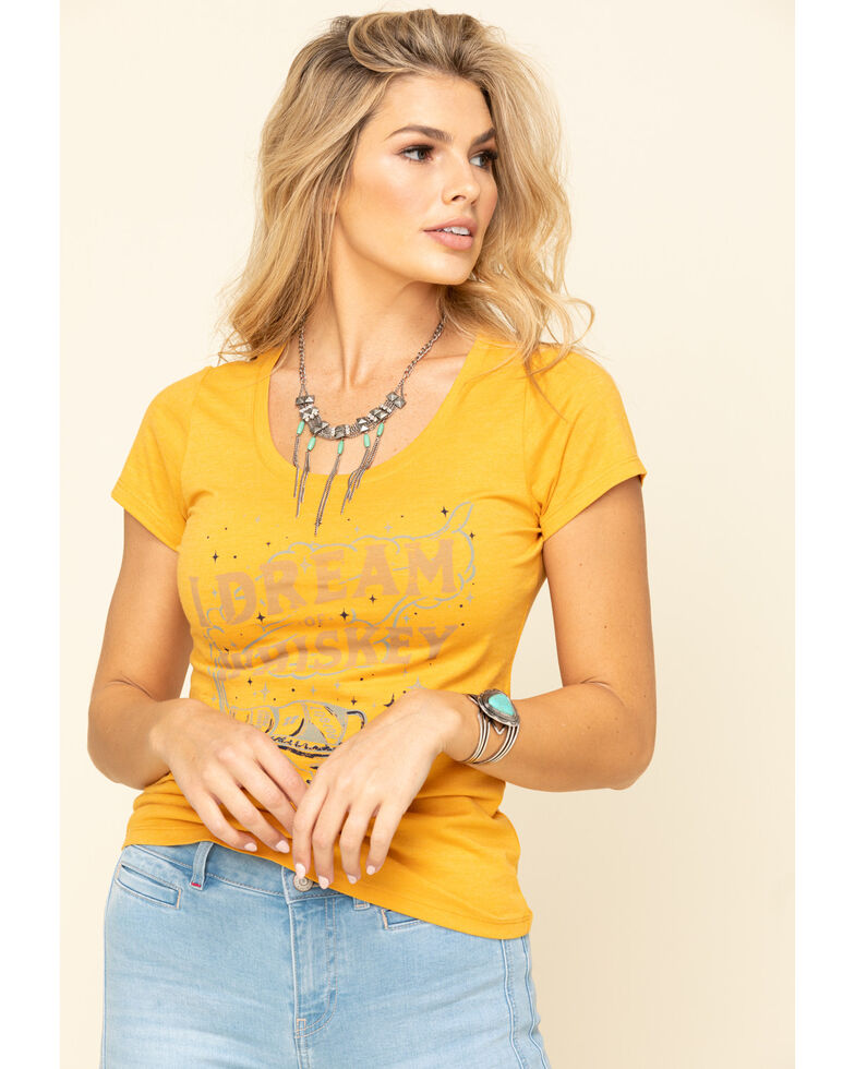 Idyllwind Women's Yellow Dream of Whiskey Trustie Tee, Yellow, hi-res