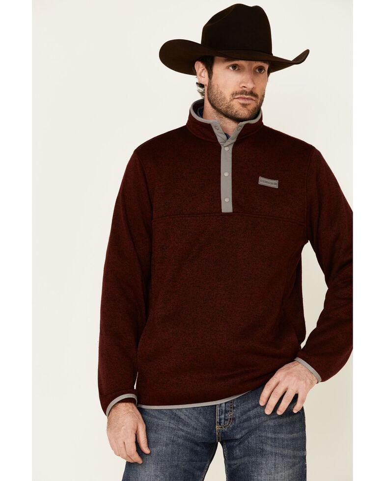 Cinch Men's Burgundy 1/4 Snap Front Heavyweight Knit Pullover Sweatshirt , Burgundy, hi-res
