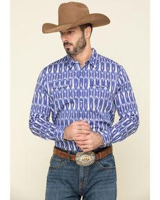 Rock & Roll Cowboy Men's Blue Ikat Aztec Print Long Sleeve Western Shirt , Blue, hi-res