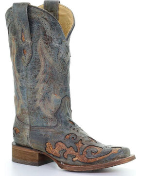 Corral Women's Turquoise Snake Inlay Cowgirl Boots - Snip Toe , Turquoise, hi-res