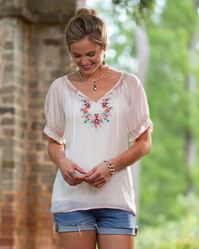 Ryan Michael Women's Embroidered Fiesta Tunic, White, hi-res