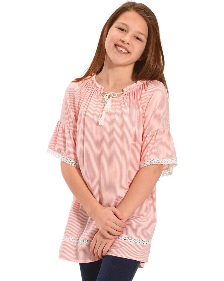 Silver Girls' Peach Striped Short Sleeve Shirt, Peach, hi-res