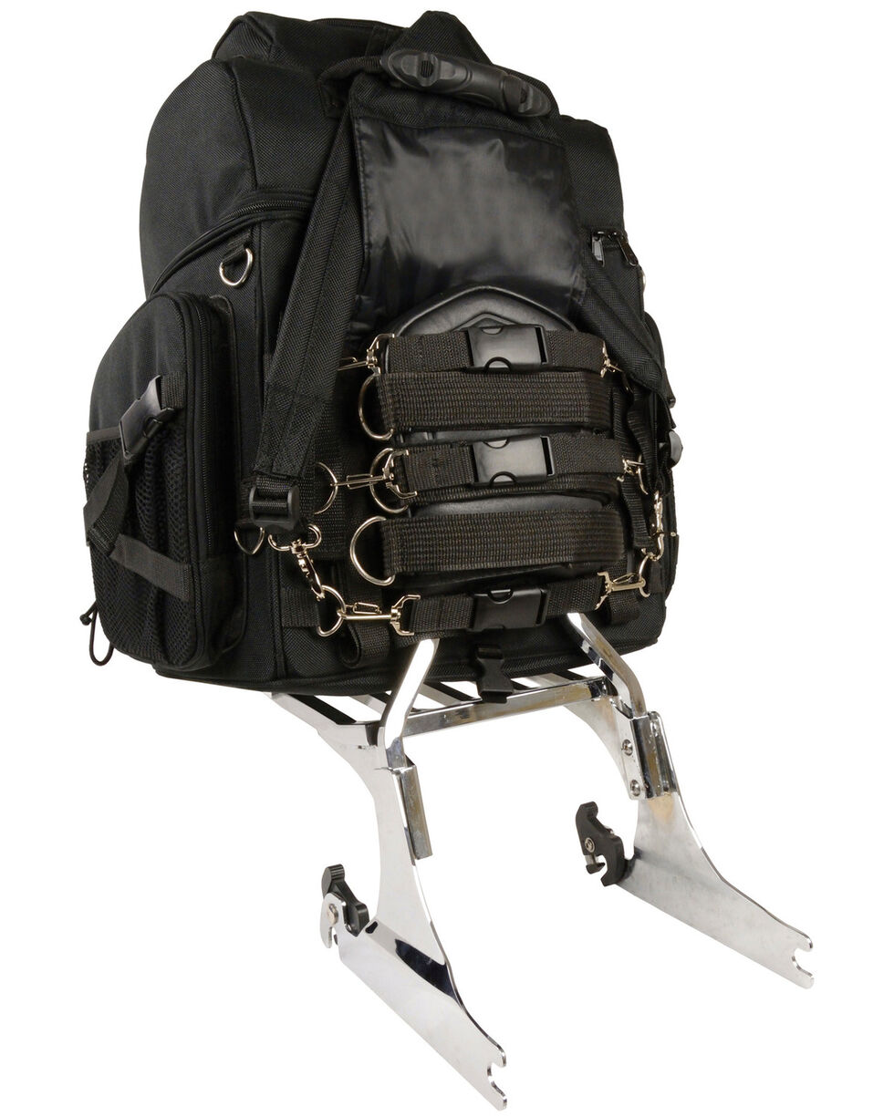 Milwaukee Leather Large Nylon Sissy Bar Travel Back Pack, Black, hi-res
