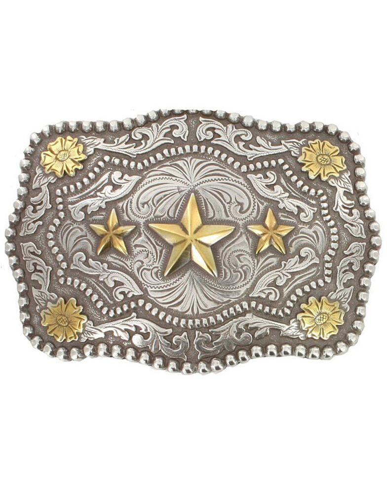 Cody James® Men's Triple Star Belt Buckle, Silver, hi-res