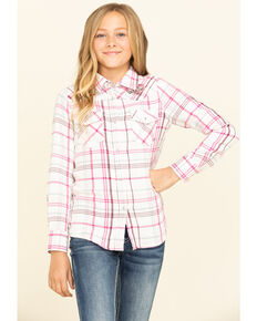 Shyanne Girls' Plaid Woven Pearl Snap Plaid Long Sleeve Shirt, Pink, hi-res