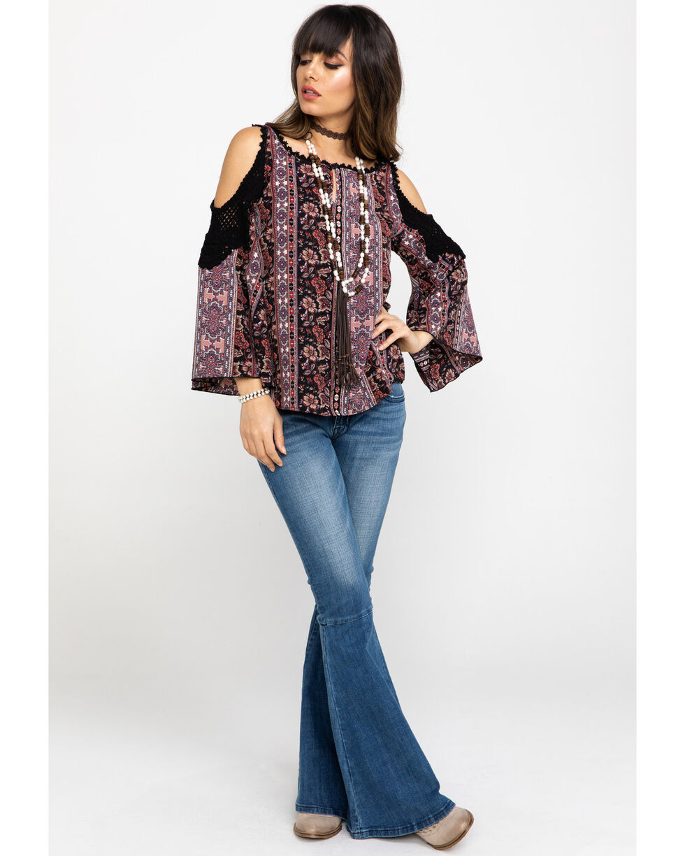 Nikki Erin Women Boho Stripe Cold Shoulder Crochet Top , Black, hi-res