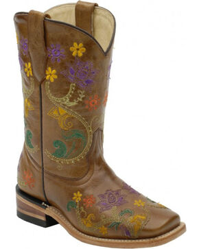 Corral Girls' Colorful Floral Embroidered Western Boots, Brown, hi-res
