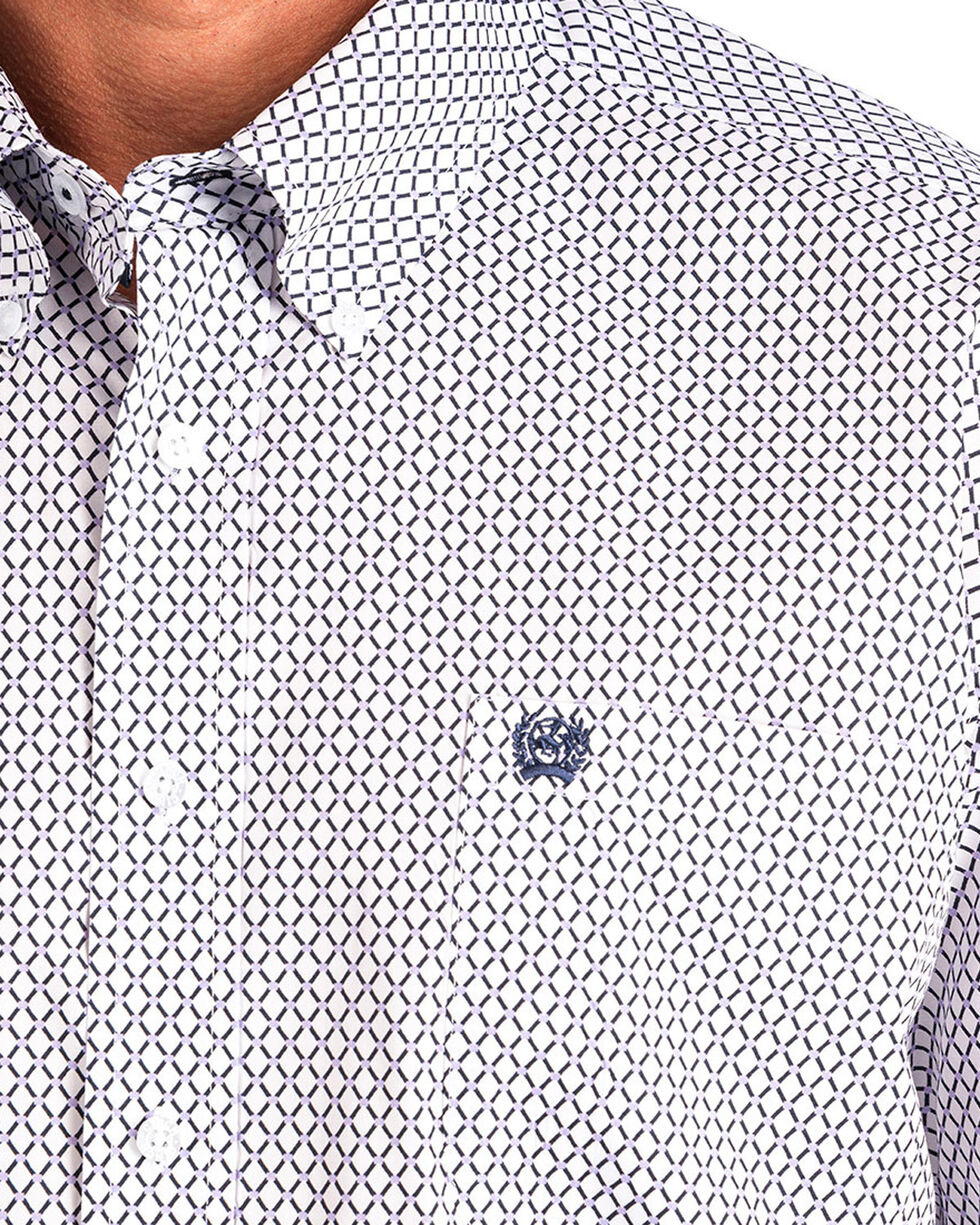 Cinch Men's White Print Short Sleeve Button Down Shirt, White, hi-res