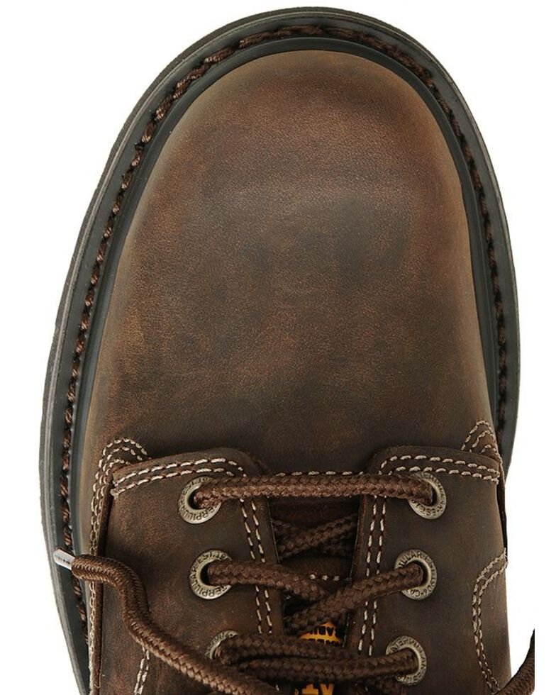 CAT Men's Steel Toe Ridgement Oxford Work Shoes, Dark Brown, hi-res