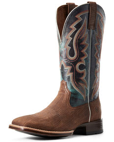 Ariat Men's Barton Ultra Dark Western Boots - Wide Square Toe, Brown, hi-res