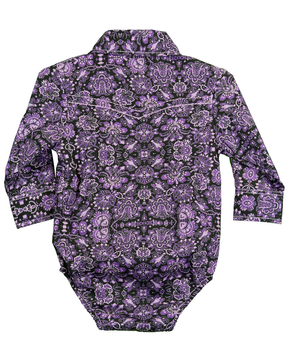 Cowgirl Hardware Girl's Peacock Print Long Sleeve Romper , Purple, hi-res