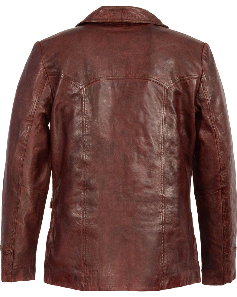 Milwaukee Leather Men's Leather Car Coat Jacket , Red, hi-res