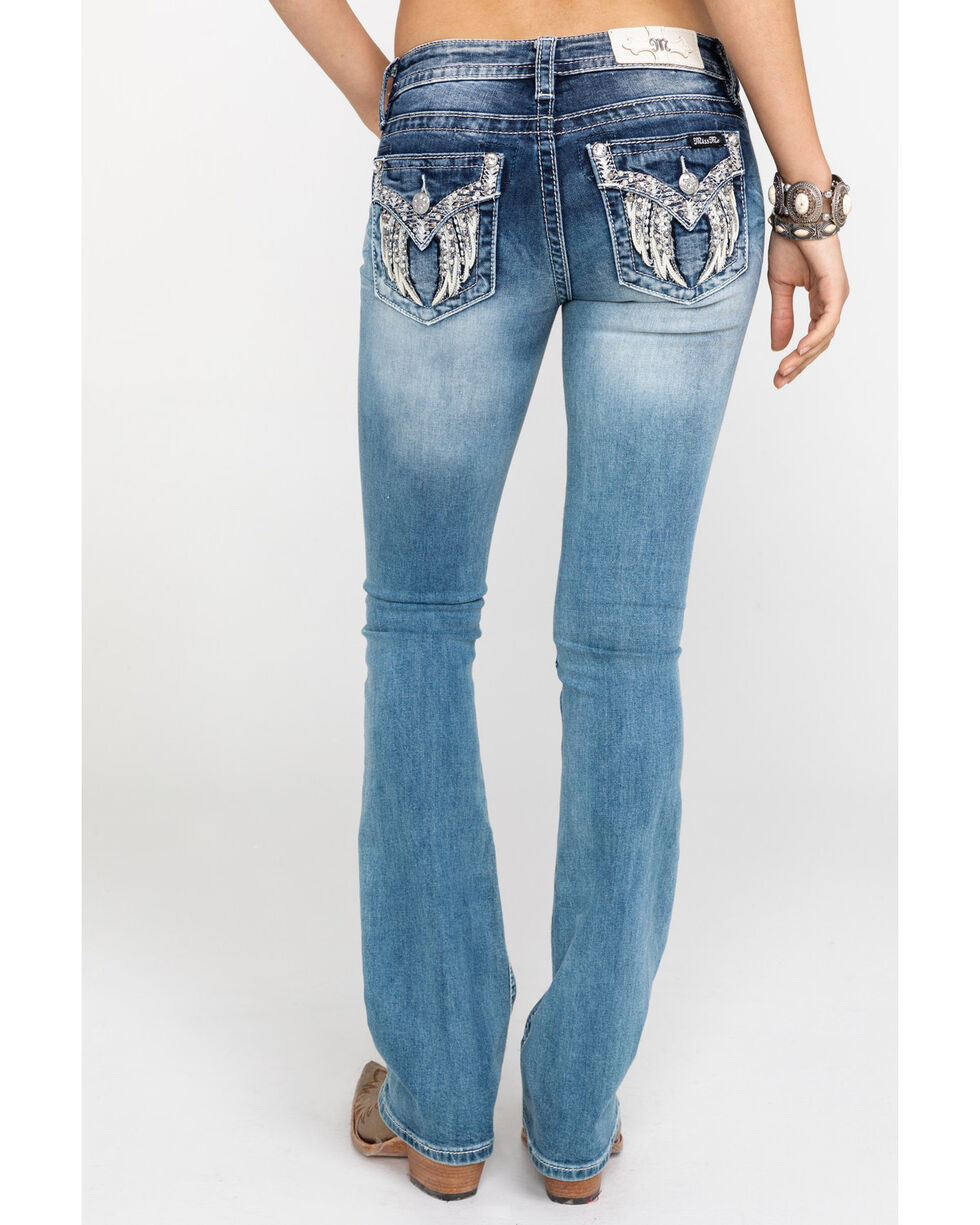 """Miss Me Women's Leather Wing Pearl Pocket 34"""" Boot Jeans , , hi-res"""