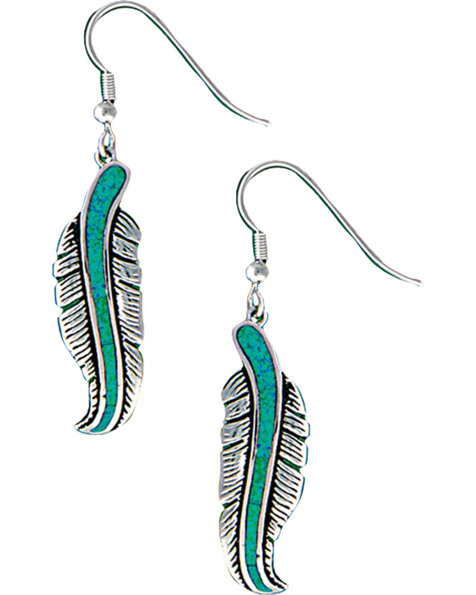 Montana Silversmiths Women's Storyteller Feather Dangle Earrings, Silver, hi-res
